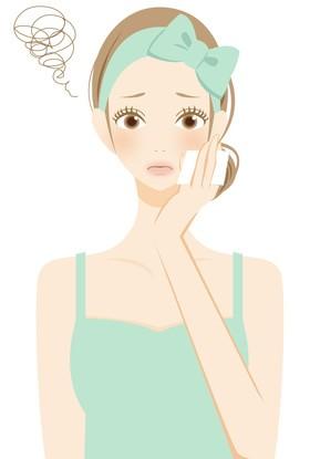 コットンで肌をおさえる女性のイラスト
