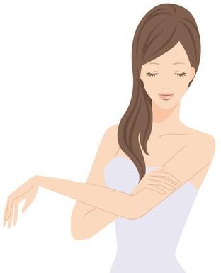 左腕を触る女性のイラスト