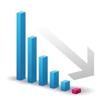減少するグラフのイラスト