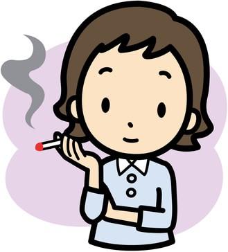 煙草を吸う女性のイラスト