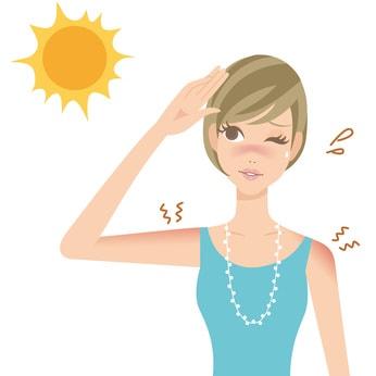 日焼けでヒリヒリしている女性のイラスト