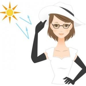 紫外線対策をしている女性