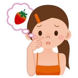 いちご鼻になっている女性のイラスト