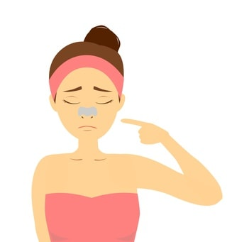 鼻パックをしている女性のイラスト