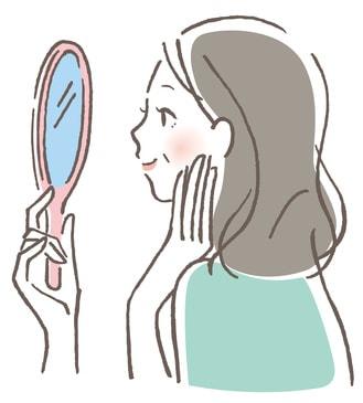 60代の女性が鏡を見ているイラスト